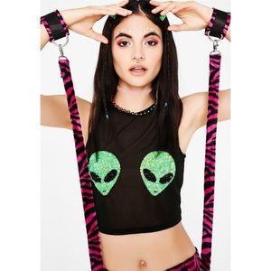 Dolls Kill Tops - Alien Persuasion Crop Top